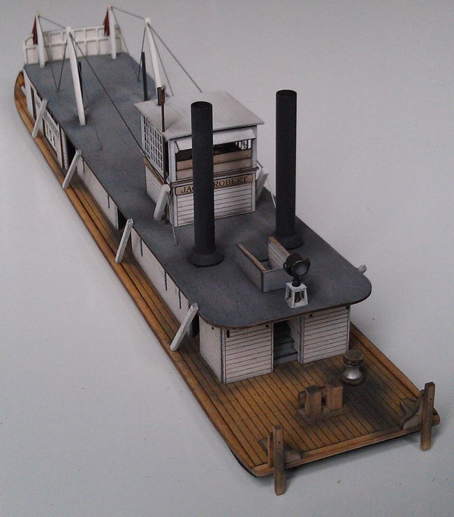 "HO Scale (1:87) Western River Towboat ""Custom"" forward view"